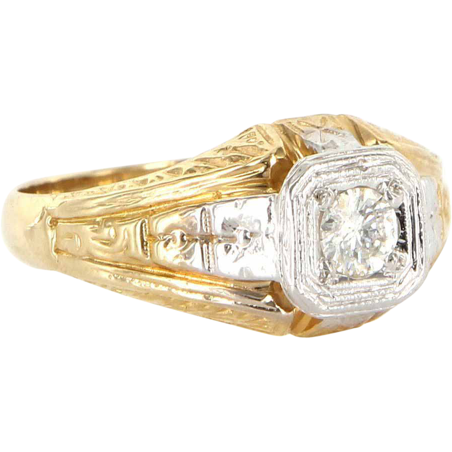 Art Deco 14 Karat Yellow Gold Diamond Cocktail Ring Fine Vintage Jewelry Estate