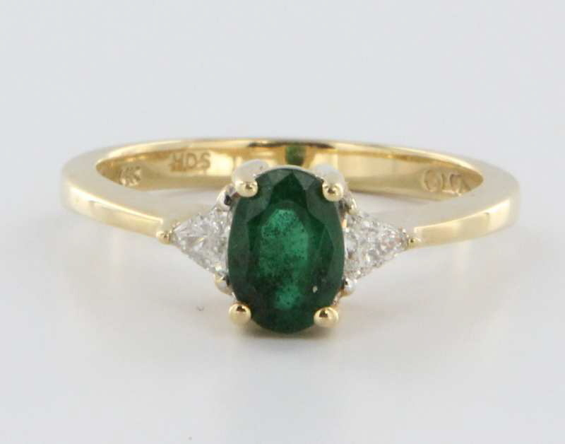 Vintage 14 Karat Yellow Gold Diamond Green Tourmaline Engagement Ring Estate 7