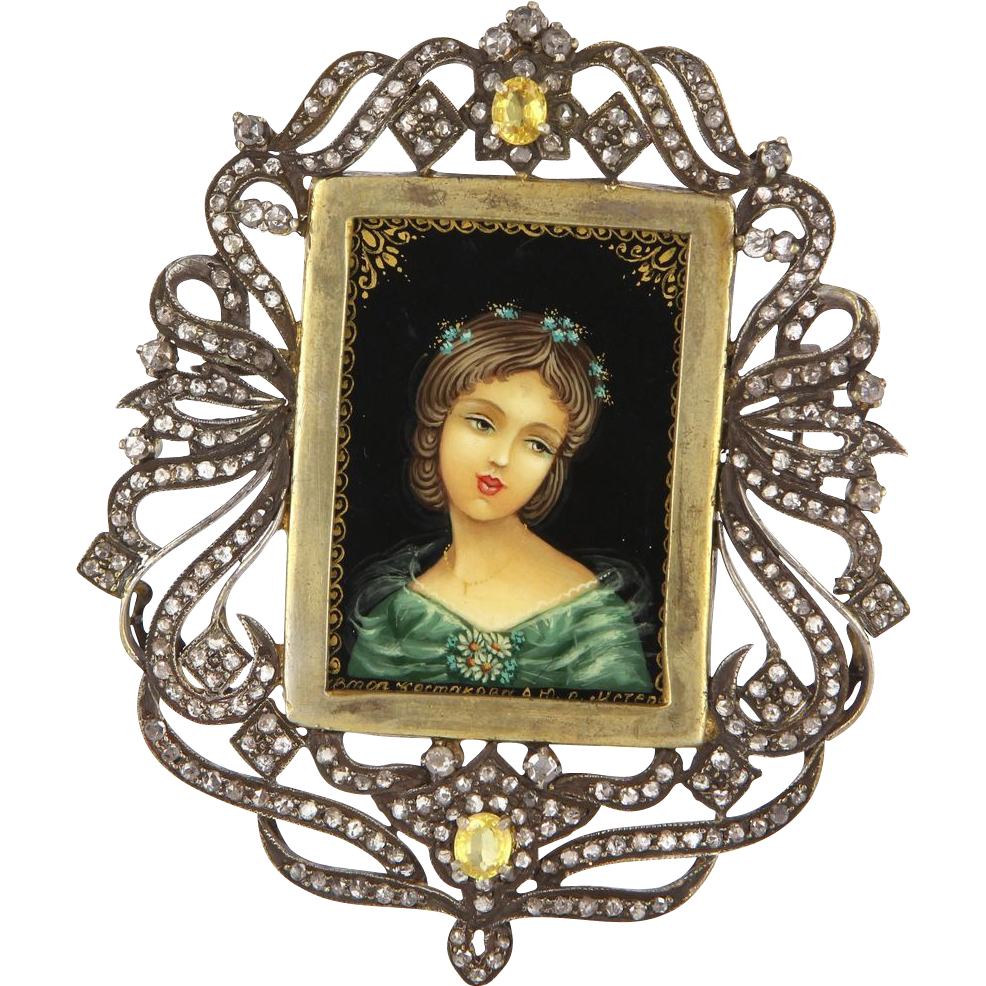 Vintage 14 Karat Yellow Gold 925 Sterling Silver Diamond Yellow Sapphire Large Painted Portrait Pendant Necklace Brooch Estate Jewelry