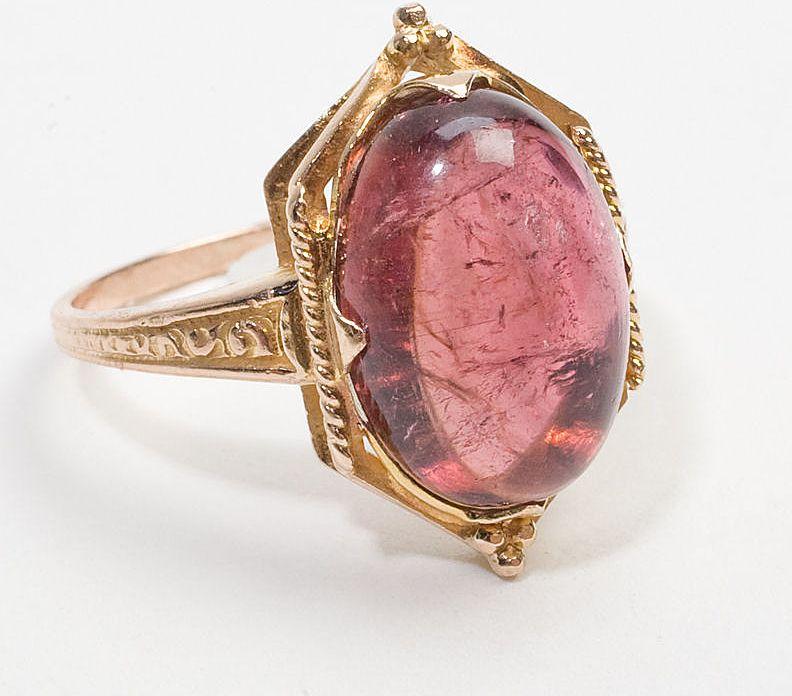 vintage gold pink tourmaline cocktail ring estate