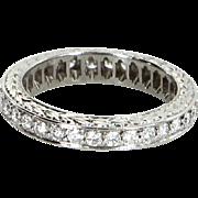 Diamond Eternity Ring Sz 5.25 Vintage 900 Platinum Estate Fine Jewelry Etched