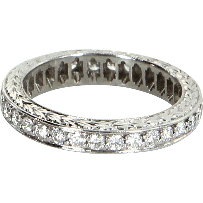 Diamond Eternity Ring Sz 5.25 Vintage 900 Platinum Estate Fine Jewelry Etched