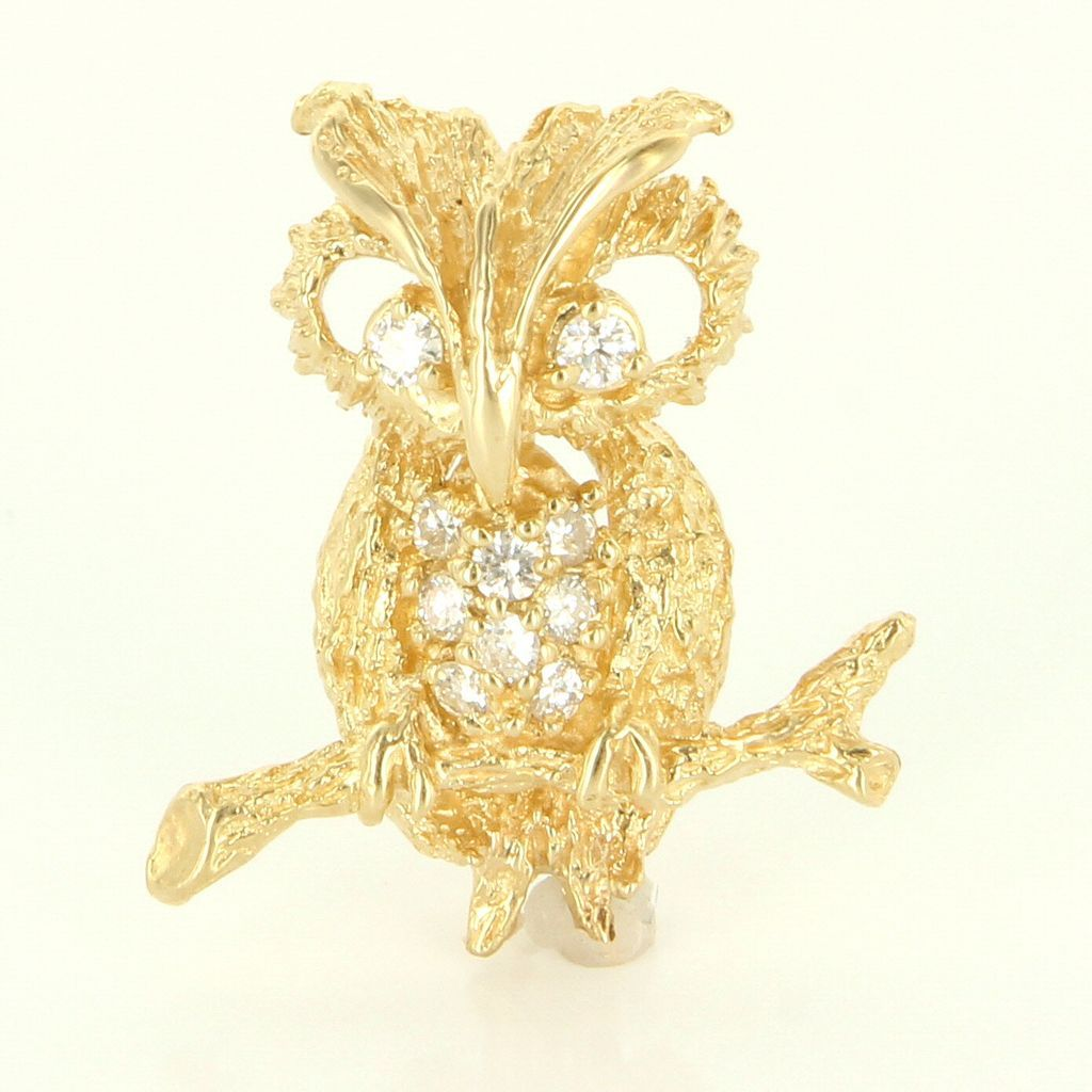 Vintage 14 Karat Yellow Gold Diamond Owl Bird On Branch Brooch Pin Fine Jewelry