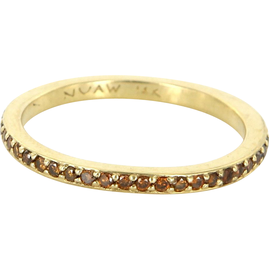 Estate 14 Karat Yellow Gold Champagne Colored Diamond Stack Eternity Band Ring