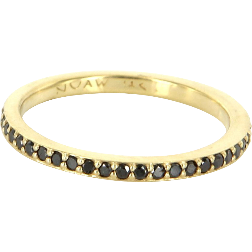 Estate 14 Karat Yellow Gold Black Diamond Eternity Stack Band Ring Fine Jewelry