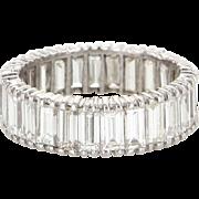 5.20ct Diamond 900 Platinum Eternity Ring Sz 8 Vintage Jewelry Estate Straight Baugette Cut