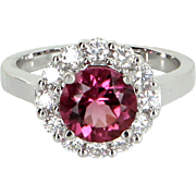 Pink Tourmaline Diamond Princess Ring Vintage 14 Karat White Gold Estate Jewelry