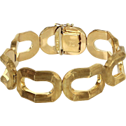Retro Oval Link Brushed Gold Vintage 18 Karat Gold Bracelet Estate Fine Jewelry