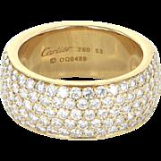 Cartier Classic 5 Row Diamond Band Ring 18 Karat Yellow Gold Estate Designer Jewelry Sz 53 6 1/4