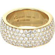 Cartier Classic 5 Row Diamond Band Ring 18 Karat Yellow Gold Estate Designer Jewelry Sz 53 6 1/4