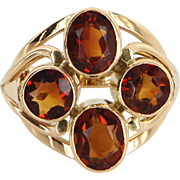 Madeira Citrine Cocktail Ring Vintage 14 Karat Yellow Gold Estate Fine Jewelry Sz 6.5