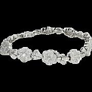 1.20ct Diamond Flower Bracelet Vintage 18 Karat White Gold Estate Fine Jewelry 7 Inch