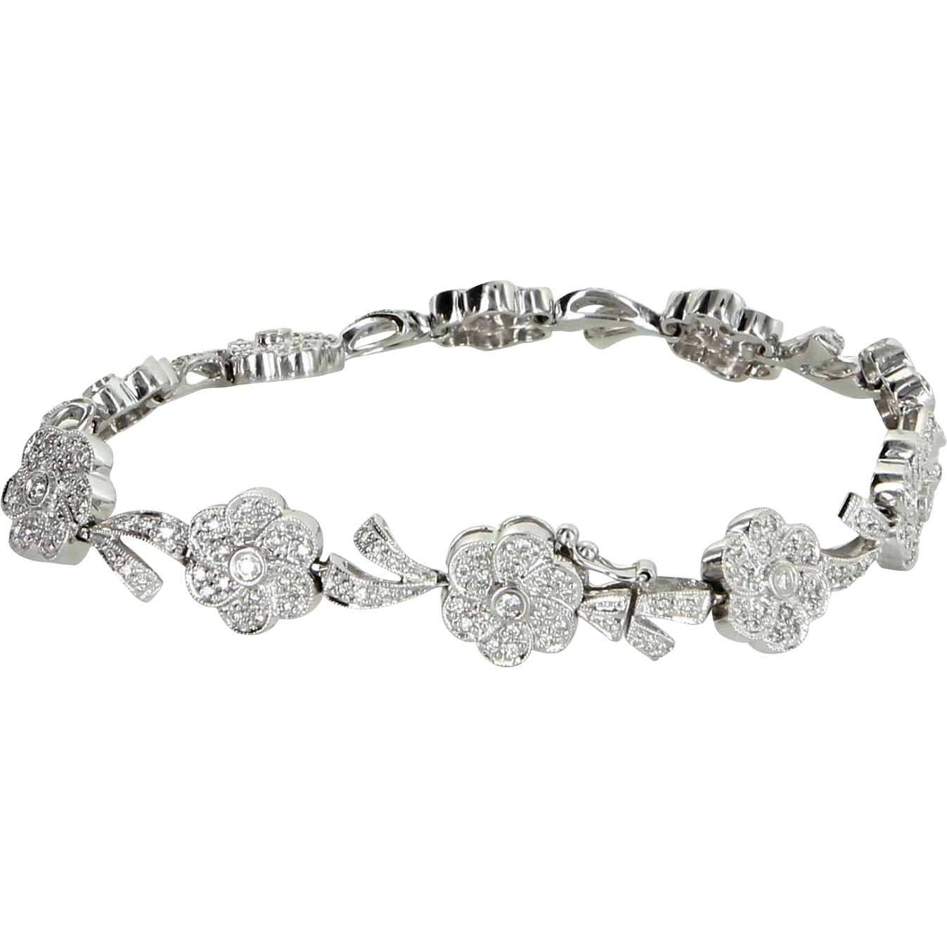 1.20ct Diamond Flower Bracelet Vintage 18 Karat White Gold Estate Fine Jewelry 7 Inch