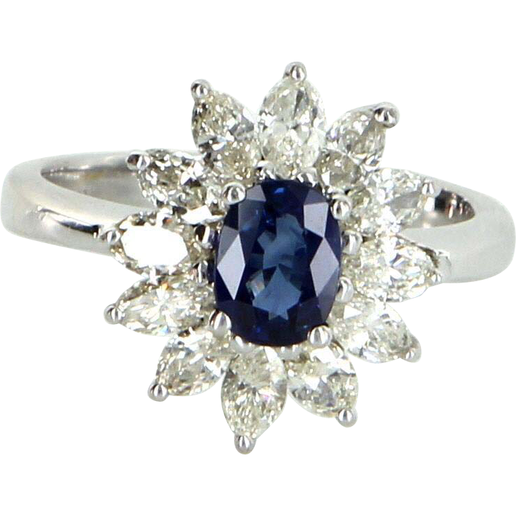 Sapphire Diamond Princess Cocktail Ring Vintage 18 Karat White Gold Estate Jewelry