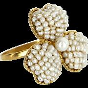 Cultured Pearl Flower Ring Vintage 18 Karat Gold Estate Fine Jewelry Pre Owned Sz 7