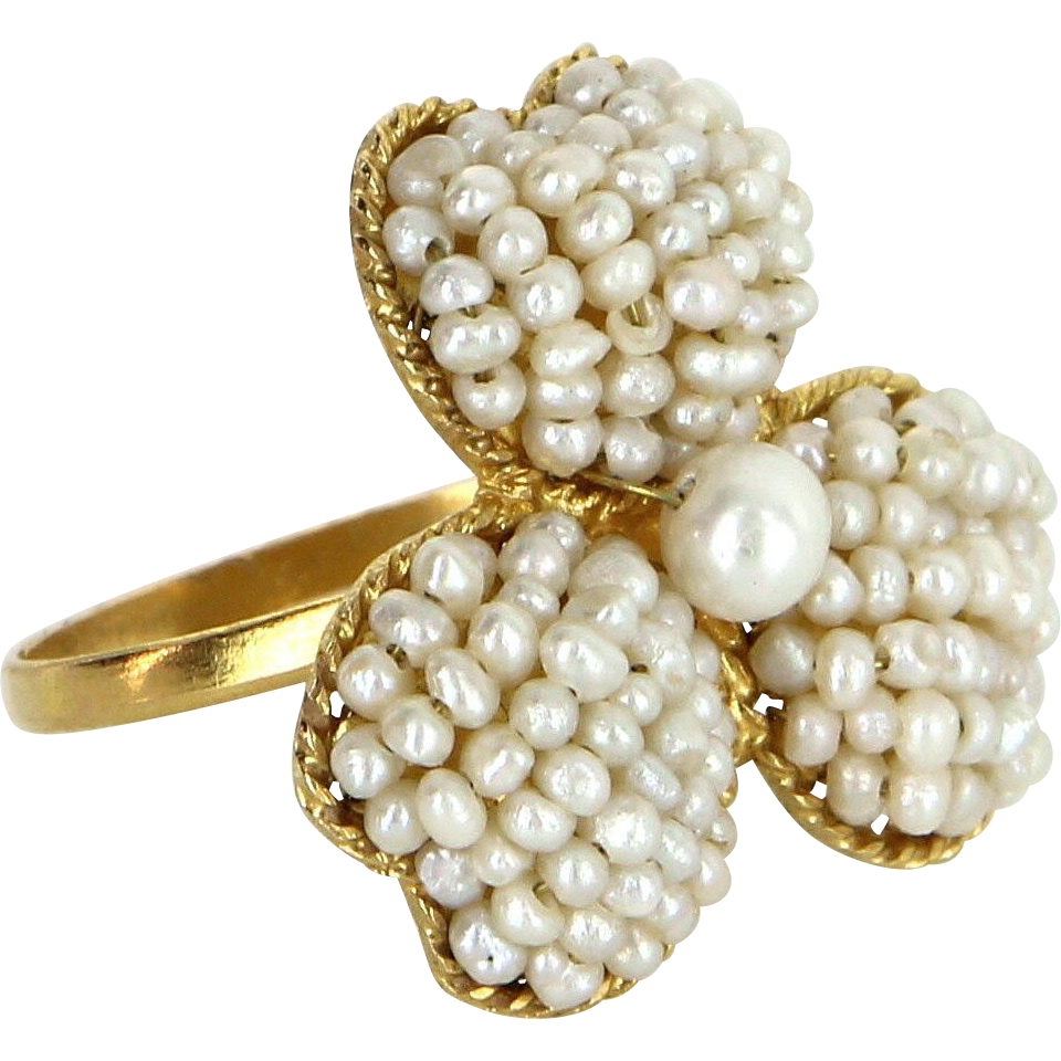 Cultured Pearl Flower Ring Vintage 18 Karat Gold Estate Fine Jewelry Pre Owned Sz 7