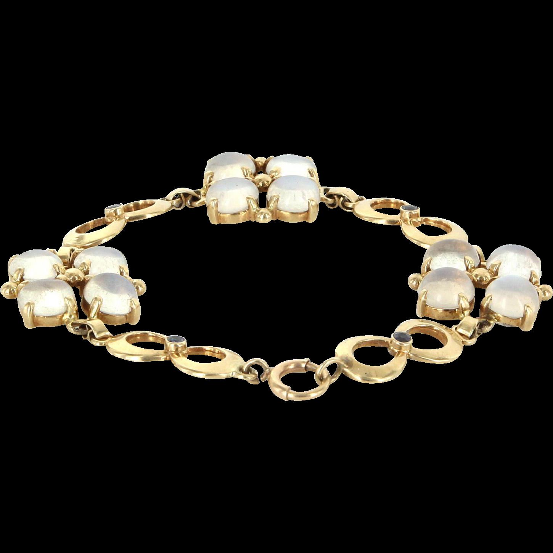 Tiffany & Co Moonstone Sapphire Retro Vintage Bracelet 14 Karat Gold Pre Owned