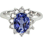 Tanzanite Diamond Princess Cocktail Ring Vintage 14 Karat Gold Estate Fine Jewelry