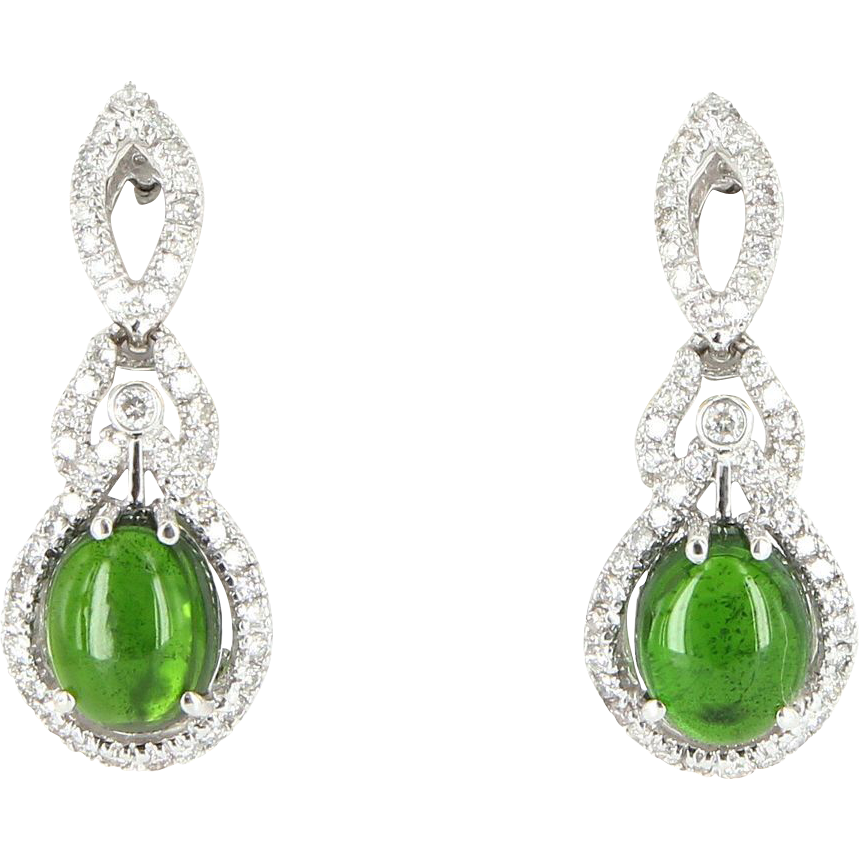 Vintage Green Tourmaline Diamond Earrings 14 Karat White Gold Estate Jewelry