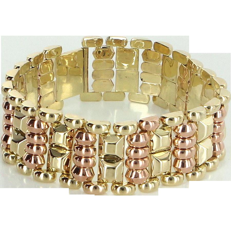 14 Karat Rose & Yellow Gold Vintage Retro Cocktail Bracelet Estate Fine Jewelry