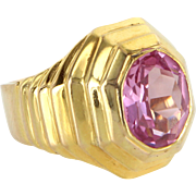 Pink Topaz Retro Vintage Ring 14 Karat Yellow Gold Estate Fine Jewelry Heirloom 7.5