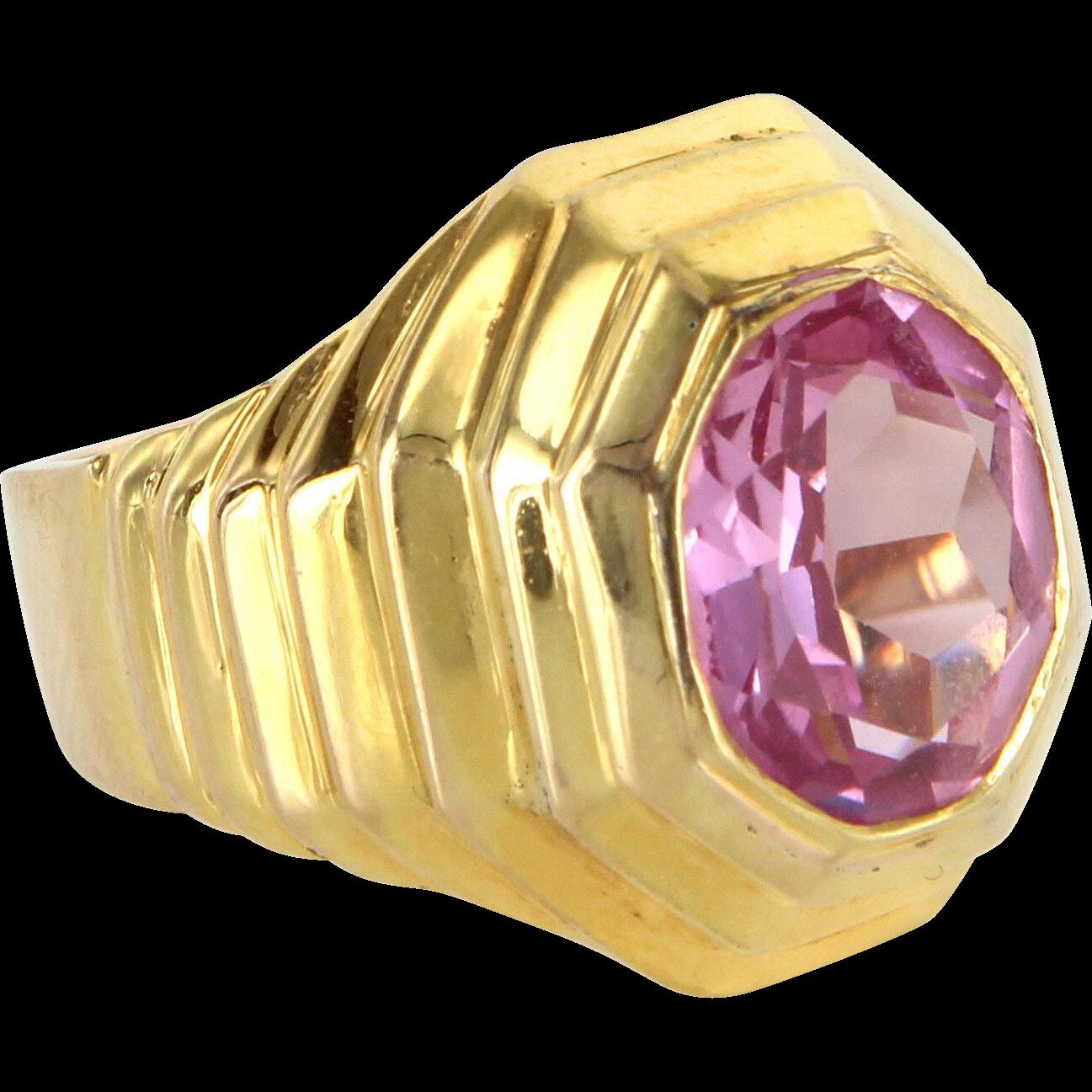 Pink Topaz Retro Vintage Ring 14 Karat Yellow Gold Estate Fine Jewelry Heirloom 7.5