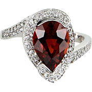 Spessartite Orange Garnet Diamond Cocktail Ring Vintage 14 Karat  White Gold Estate