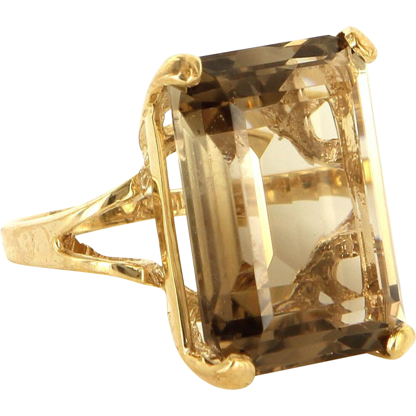Vintage 10 Karat Yellow Gold Smoky Quartz Large Cocktail Ring Fine Jewelry