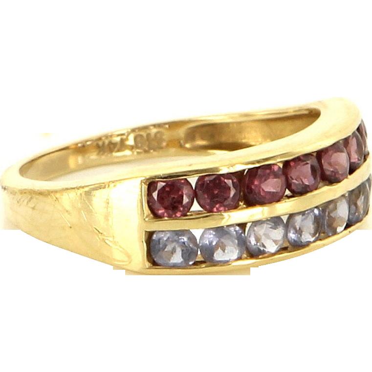 Estate 14 Karat Yellow Gold Pink Tourmaline Tanzanite Stack Band Ring Pre-Owned