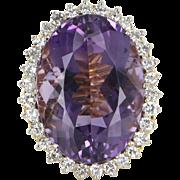 Large Amethyst Diamond Cocktail Ring Vintage 18 Karat Gold Estate Fine Jewelry