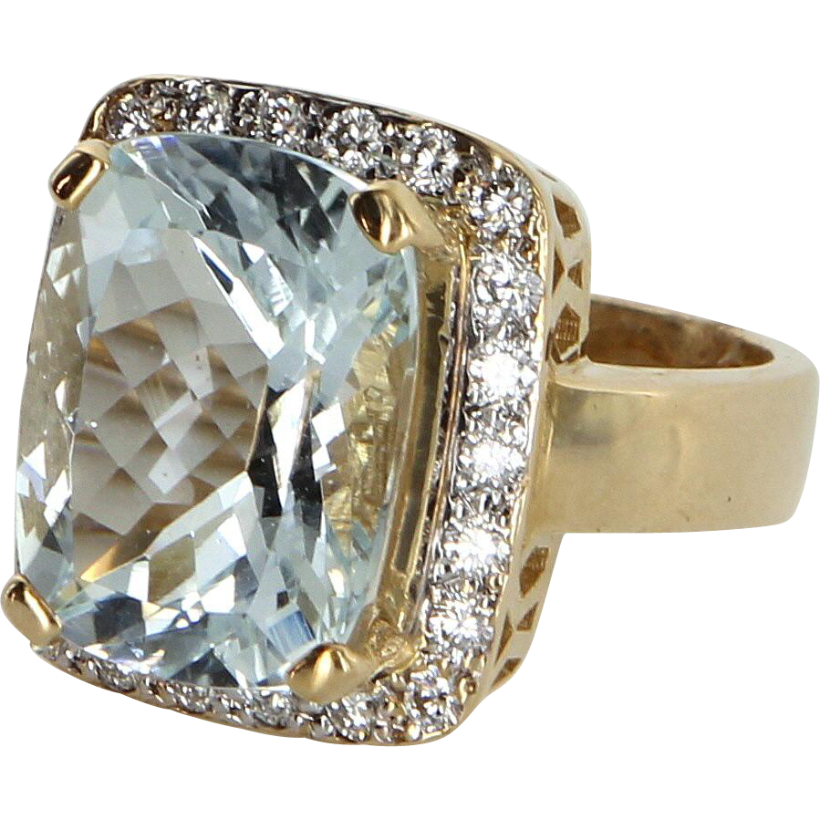 Aquamarine Diamond Cocktail Ring Vintage 14 Karat Gold Estate Fine Jewelry Pre Owned