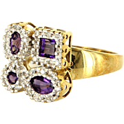 Amethyst Diamond Puzzle Cocktail Ring Vintage 10 Karat Gold Estate Fine Jewelry