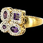 Amethyst Diamond Puzzle Cocktail Ring Vintage 10 Karat Gold Estate Fine Jewelry