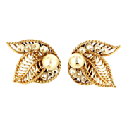 Vintage 14 Karat Yellow Gold Cultured Pearl Cocktail Clip Leaf Earrings Estate