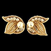 Vintage 14 Karat Yellow Gold Cultured Pearl Cocktail Clip Leaf Earrings Estate