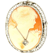 Vintage 14 Karat White Gold Diamond Habille Cameo Brooch Pendant Fine Jewelry