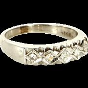 Vintage 14 Karat White Gold Diamond Wedding Band Stack Ring Fine Estate Jewelry