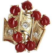 Red Coral Diamond Vintage 70s Cocktail Ring 14 Karat Gold Estate Fine Jewelry Pre Owned