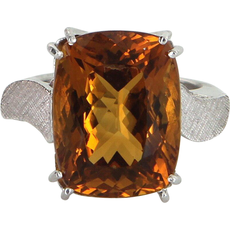 Citrine Cocktail Ring Vintage 14 Karat Gold 950 Platinum Arthritic Band Estate Jewelry