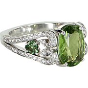 Peridot Diamond Cocktail Ring Vintage 18 Karat White Gold Estate Jewelry Danhov