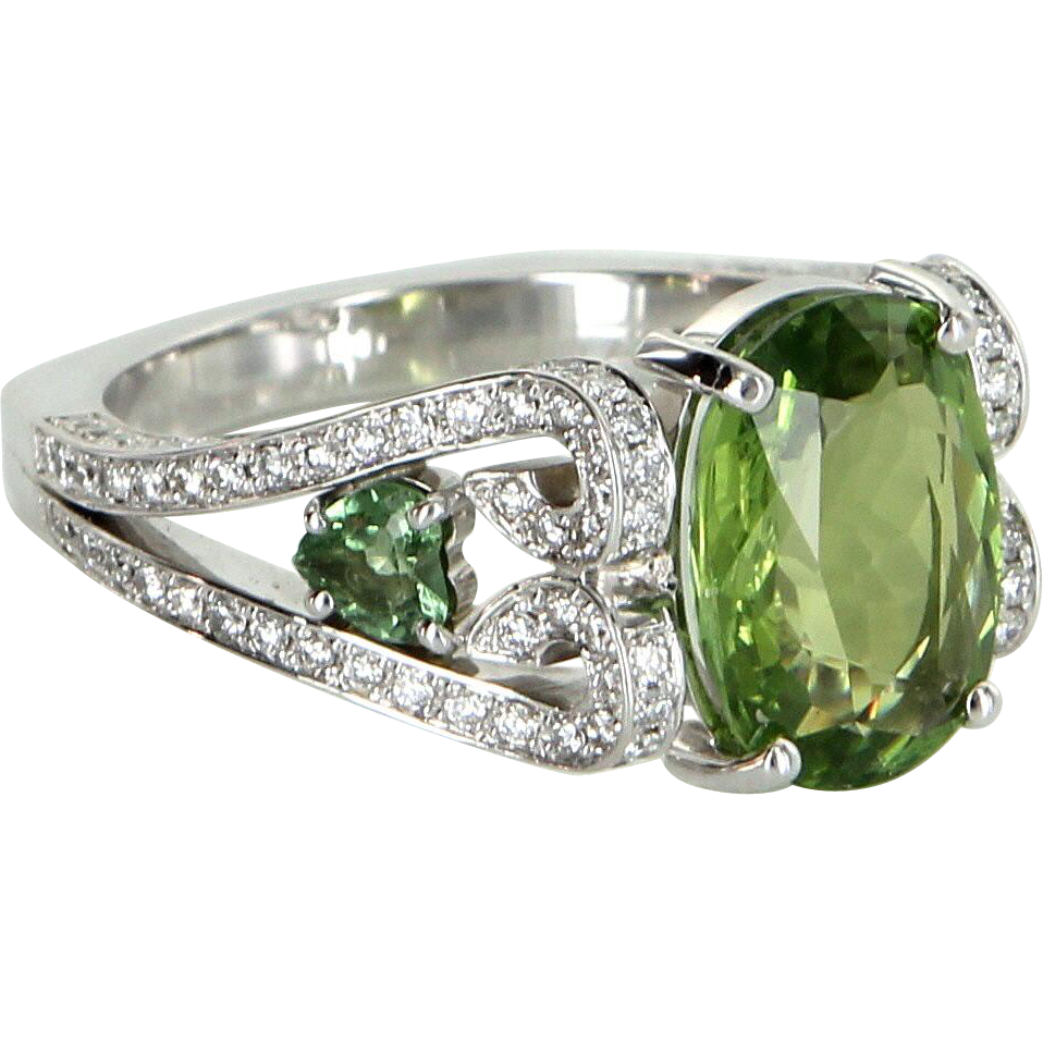 Peridot Diamond Cocktail Ring Vintage 18 Karat White Gold Estate Jewelry Danhov