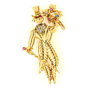 Vintage 14 Karat Yellow Gold Synthetic Stone Novelty Figure Brooch Pin Estate