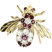 Bumble Bee Pin Diamond Ruby Vintage 14 Karat Yellow Gold Bug Jewelry Estate Fine