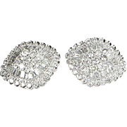 4.40ct Diamond Cocktail Earrings Vintage 14 Karat White Gold Estate Fine Jewelry