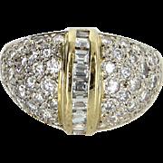 1.65ct Diamond Dome Ring Vintage 14 Karat Yellow Gold Estate Fine Jewelry Heirloom