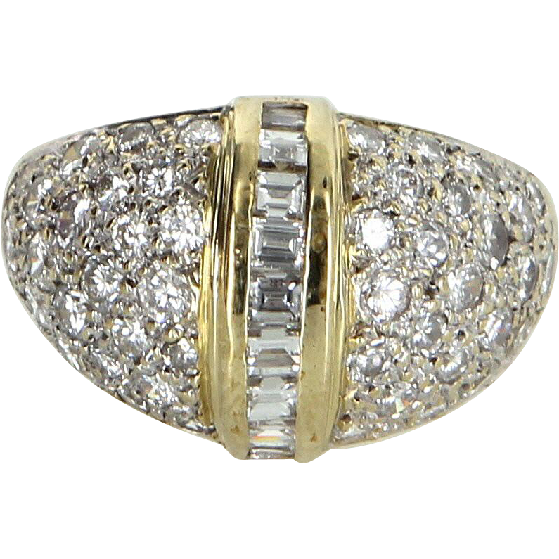 1.65ct Diamond Dome Ring Vintage 14 Karat Yellow Gold Estate Fine Jewelry Heirloom