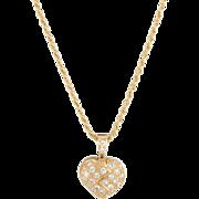 Mouawad Opening Heart Diamond Necklace Estate 18 Karat Yellow Gold Fine Jewelry