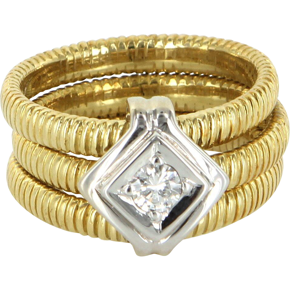 SeidenGang 18 Karat Gold Diamond Sz 7 3 Band Ring Estate Designer Jewelry Pre Owned