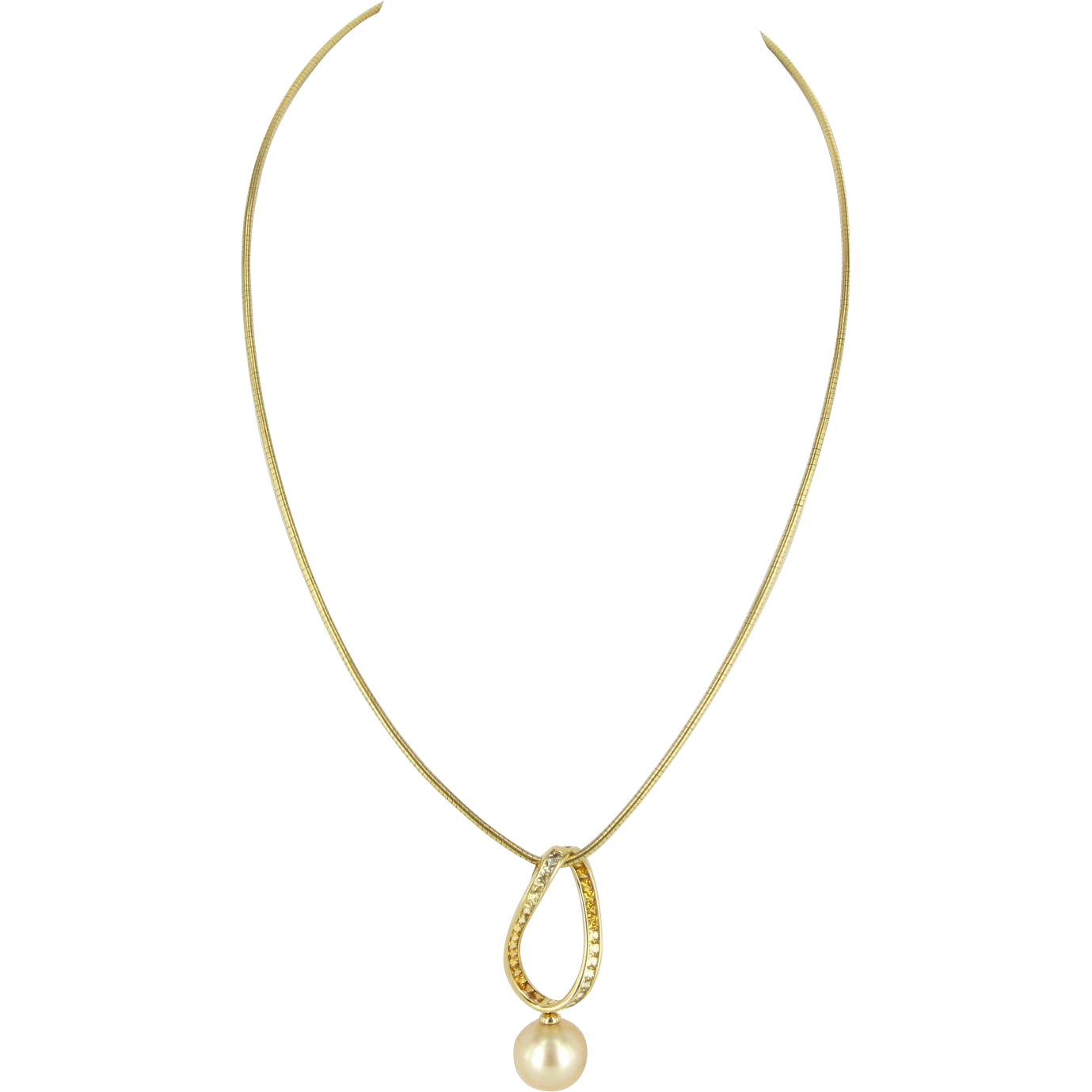 Mikimoto Cultured Golden South Sea Pearl Yellow Sapphire 18 Karat Gold Necklace Fine