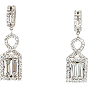 Estate 18 Karat White Gold Diamond Cocktail Dangle Earrings Fine Jewelry